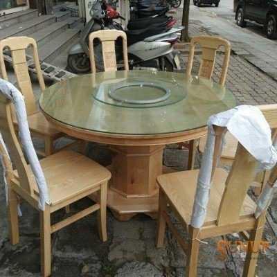 bàn ghế ăn tròn kính xoay