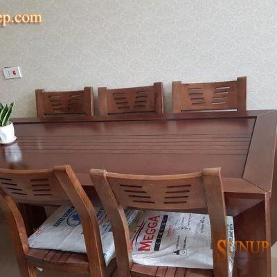 bàn ghế ăn gỗ sồi nga 17
