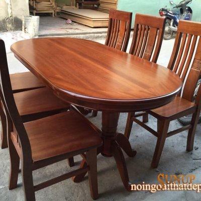 bàn ghế ăn bầu dục gỗ xoan đào