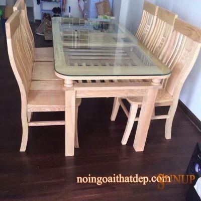 bàn ghế ăn gỗ sồi nga 2 tầng